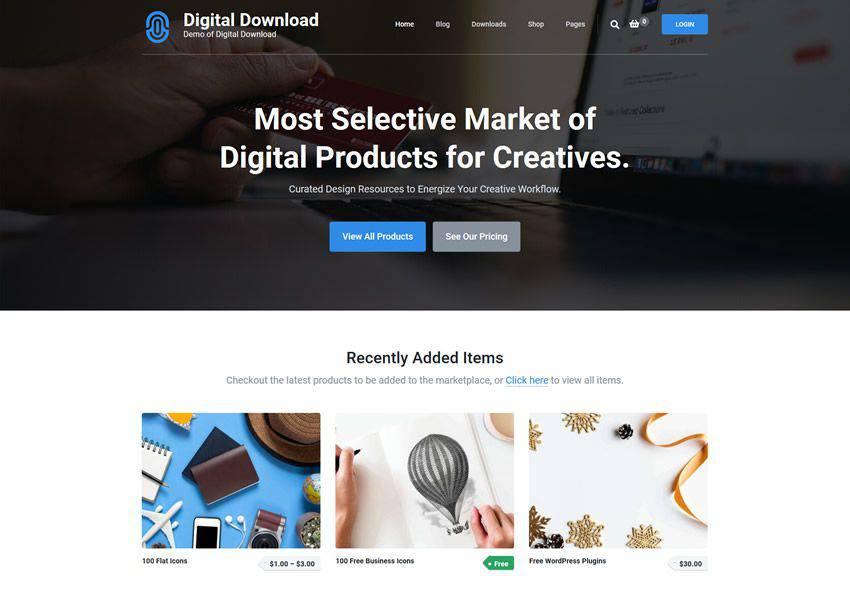 Easy Digital Download free wordpress theme wp responsive ecommerce shop