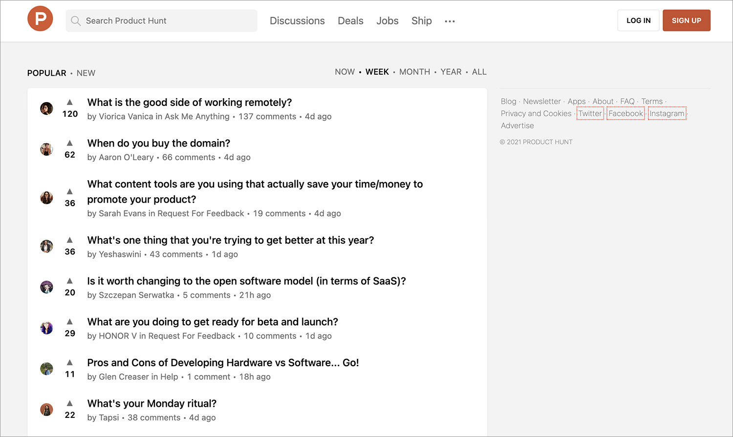 ProductHunt Discussion