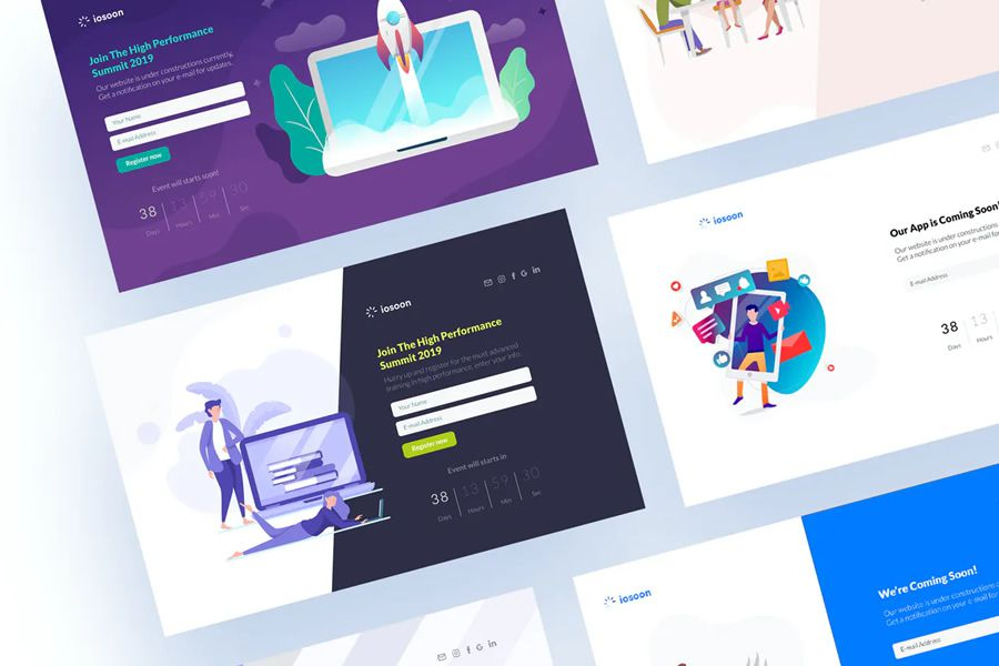 Iosoon coming soon page web design inspiration